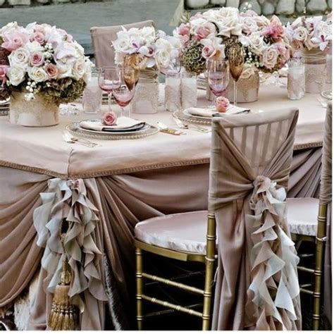 pale pink ruffled wedding table design wedding