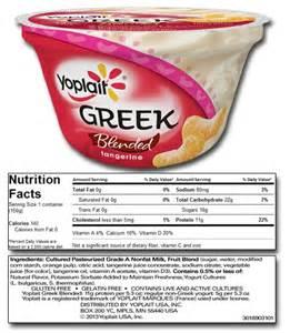 Yoplait Greek Yogurt Nutrition Label