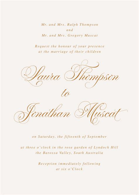 Formal Wording for Wedding Invitations Traditional