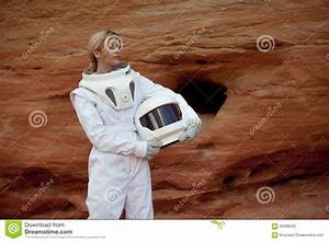 Futuristic Astronaut Without A Helmet On Another Stock ...