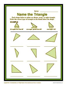name the triangle 4th grade geometry worksheets