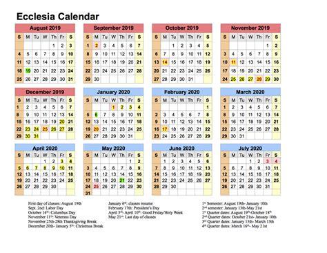 calendar ecclesia classes