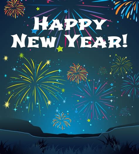 new year template card template for new year with firework background vector free