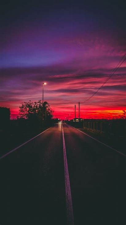 Sunset Phone Background Looking Aesthetic Road Horizon