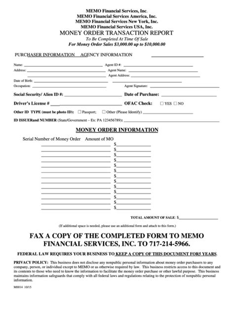 form  money order transaction report