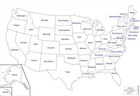 printable usa map hawaii state luxury united states