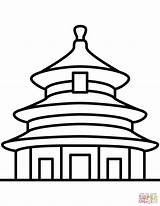 Temple Coloring China Beijing Heaven Drawing Chinese Printable Architecture Drawings sketch template