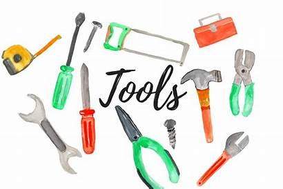 Tools Clipart Watercolor Handy Graphics Cleaning Illustrations