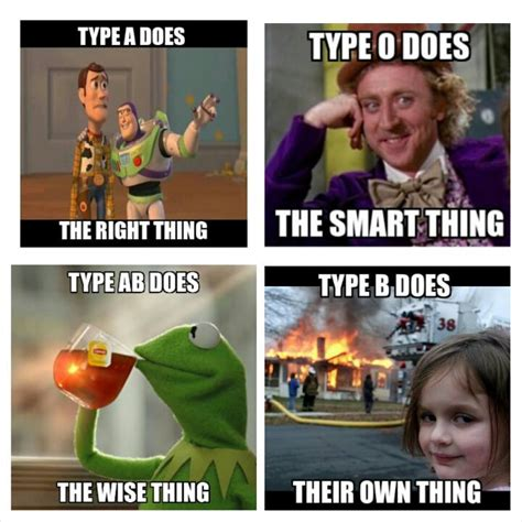 Types Of Memes - blood type thing quot meme blood type personality pinterest blood types meme and blood type