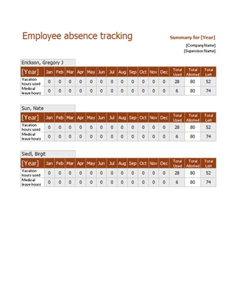 excel templates employee leave schedule template