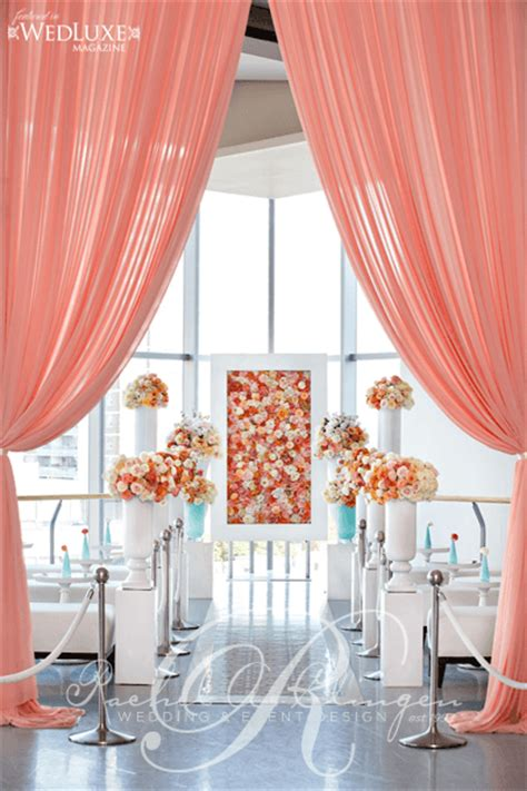 peach wedding flower wall ceremony at the canadian