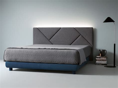 fabric double bed  upholstered headboard opus