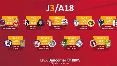 Fechas y horarios de la jornada 3 del Apertura 2018 de la ...
