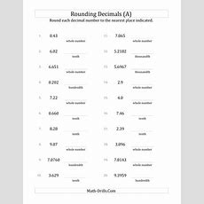 Rounding Various Decimals To Various Decimal Places (a