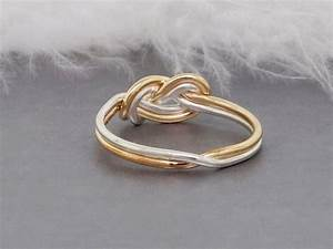 solid gold and sterling silver double figure 8 knot With knot wedding rings