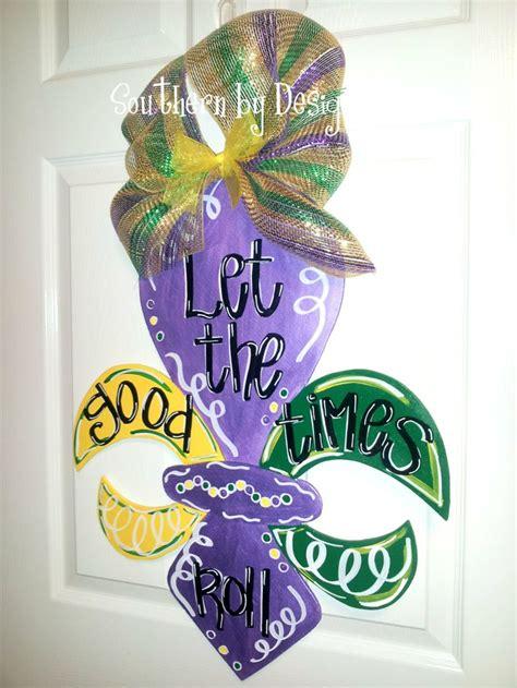 mardi gras fleur de lis wooden door hanger let the good