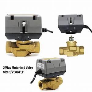 12v 24v 110v 220v 2 Way 3 Way Spdt Electric Brass Water Valves Motorized Globe Zone Valve For
