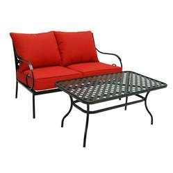 shop garden treasures yorkford 2 piece black steel patio