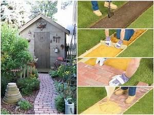 Gartenwege Anlegen Ideen : gartenwege anlegen mit ziegelsteinen so wird es gemacht ~ Markanthonyermac.com Haus und Dekorationen