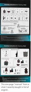 Assembly Instructions For Gaming Chair Spare Parts And