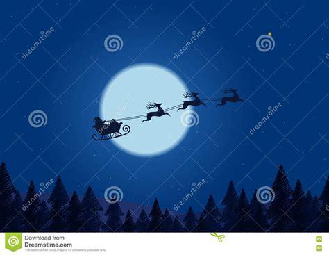 santa flying   night sky   christmas