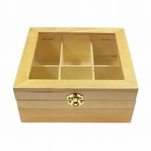 Boite à Thé Bois : bo te th en bois brut 6 compartiments decorer ~ Teatrodelosmanantiales.com Idées de Décoration