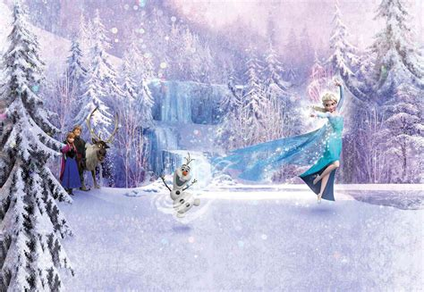 chambre reine des neiges disney elsa frozen forest winter land fototapete