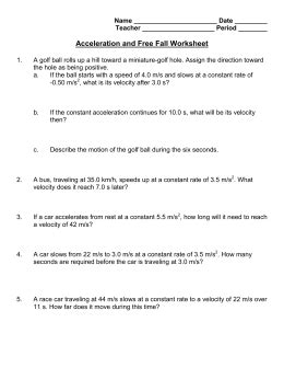 Displacement,velocity, And Acceleration Worksheet