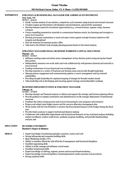 Business Manager Resume by Strategy Business Manager Resume Sles Velvet