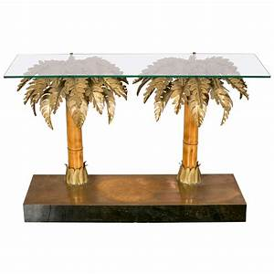 mid century gold palm tree coffee table by hans kgl for With palm tree coffee table