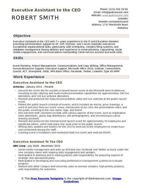 Executive Assistant To Ceo Resume by Executive Assistant To The Ceo Resume Sles Qwikresume