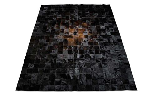 Black Cowhide Rug by Gradient Patchwork Cowhide Rug In Brown And Black Shine Rugs