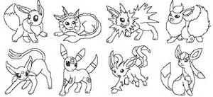 Cute Eevee Evolution Coloring Pages
