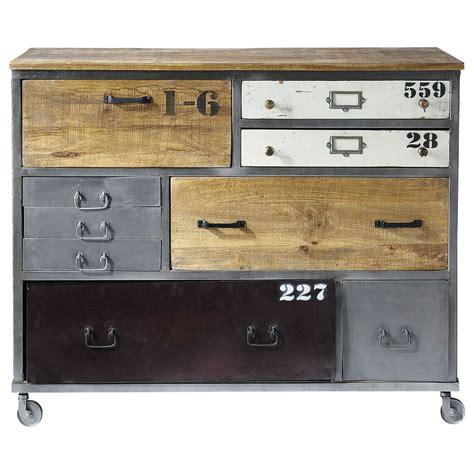 deco urbaine chambre ado commode à roulettes en métal l 120 cm lazare maisons du