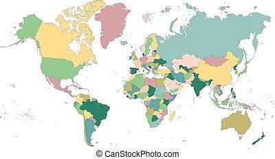 Karta, politisk, kontinentar, värld. | CanStock