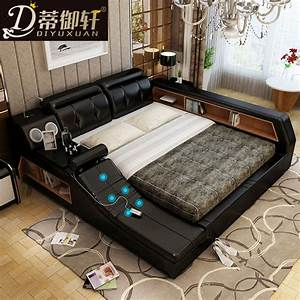 di yu xuan tatami bed massage smart leather storage bed With bed with massager