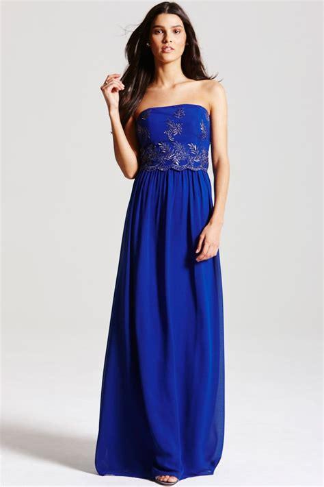 cobalt blue embroidered maxi dress   mistress uk