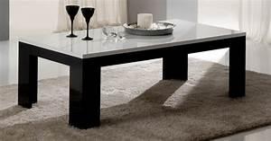 Table Laquee Blanc : table basse pisa laquee bicolore noir blanc noir blanc ~ Premium-room.com Idées de Décoration