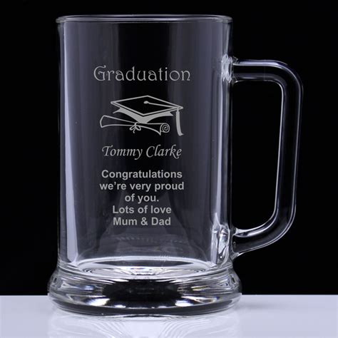 graduation personalised glass tankard engrave  gift