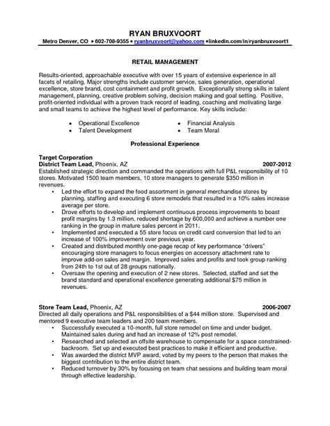 resume objectives for retail district manager retail sle resumes retail store manager resume objective
