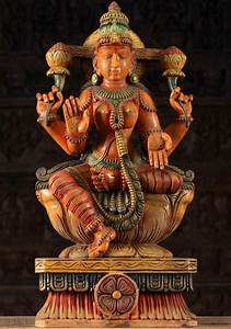 Sold, Wooden, Hindu, Goddess, Lakshmi, Statue, 24, U0026quot, 96w1ai, Hindu, Gods, U0026, Buddha, Statues