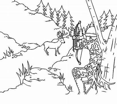 Coloring Deer Hunting Scene Hunter Coloringsky Shot
