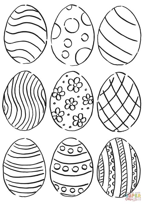 easter eggs pattern coloring page  printable
