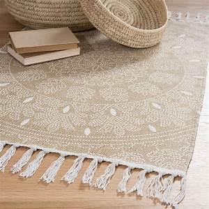 Tapis A Frange : tapis franges en coton beige 60 x 90 cm yogya maisons du monde ~ Teatrodelosmanantiales.com Idées de Décoration