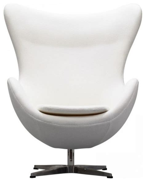 egg style chair with ottoman italian leather white