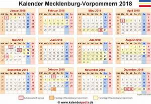 Kalender 2018 MecklenburgVorpommern Ferien, Feiertage