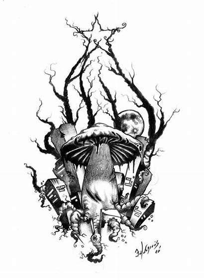 Tattoo Evil Drawings Tattoos Mushroom Skull Drawing