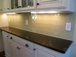 Glass subway tile kitchen backsplash contemporary for Glass backsplash for kitchens