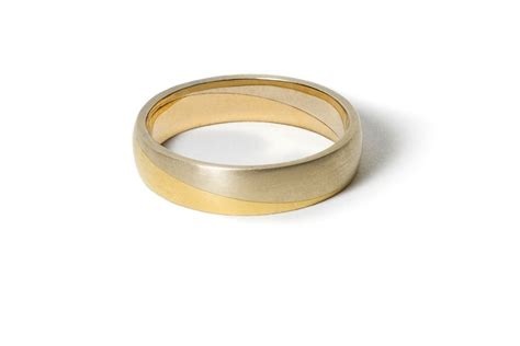 White And Yellow Gold Mixed Metal Wedding Band