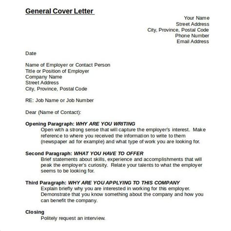 cover leter for no specific position sle generic cover letter letter format writing